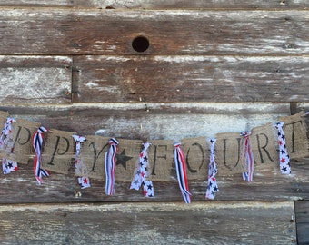 Burlap Banner for Fourth of July: HAPPY FOURTH
