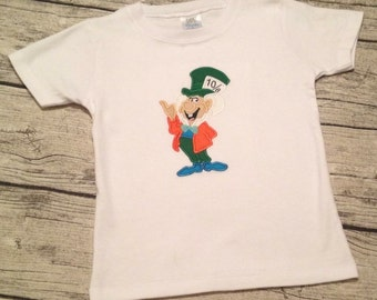 Appliqued Madness Custom Appliqued Disney Mad Hatter Alice in Wonderland Shirt or Baby One Piece