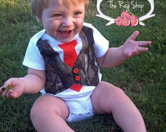 Camo baby vest and tie Bodysuit, Faux Vest
