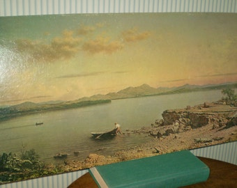 Vintage Lake George lithograph by Heade- Martin Johnson Heade 1862 work of Lake George, NY. Unframed Lithograph from 1960s