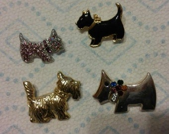 Lot of 4 cute Vinatge Scottish Terrier Dog Pins