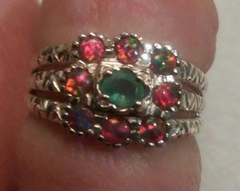 Emerald and Welo Opal Clusterl Ring