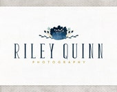 Premade Logo Design | Photography Logo | Watercolor Flowers | Navy and Mustard | Premade Blog Header | Floral Logo | Country Chic Design