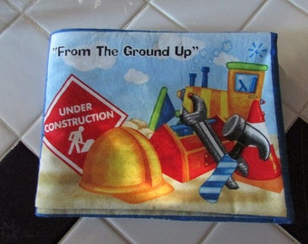 Hand made Under Construction  cloth book.