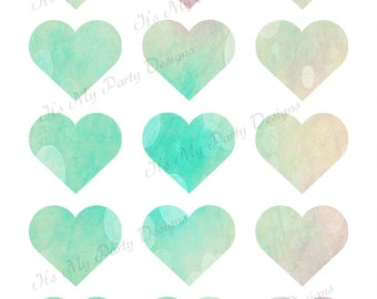 """1"""" Dreamy Hearts Digital Download - Printable, Instant Download - Dreamy Bokeh Hearts, Collage Sheet"""