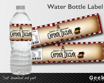 Pirate Birthday Party Water Bottle Label - Printable