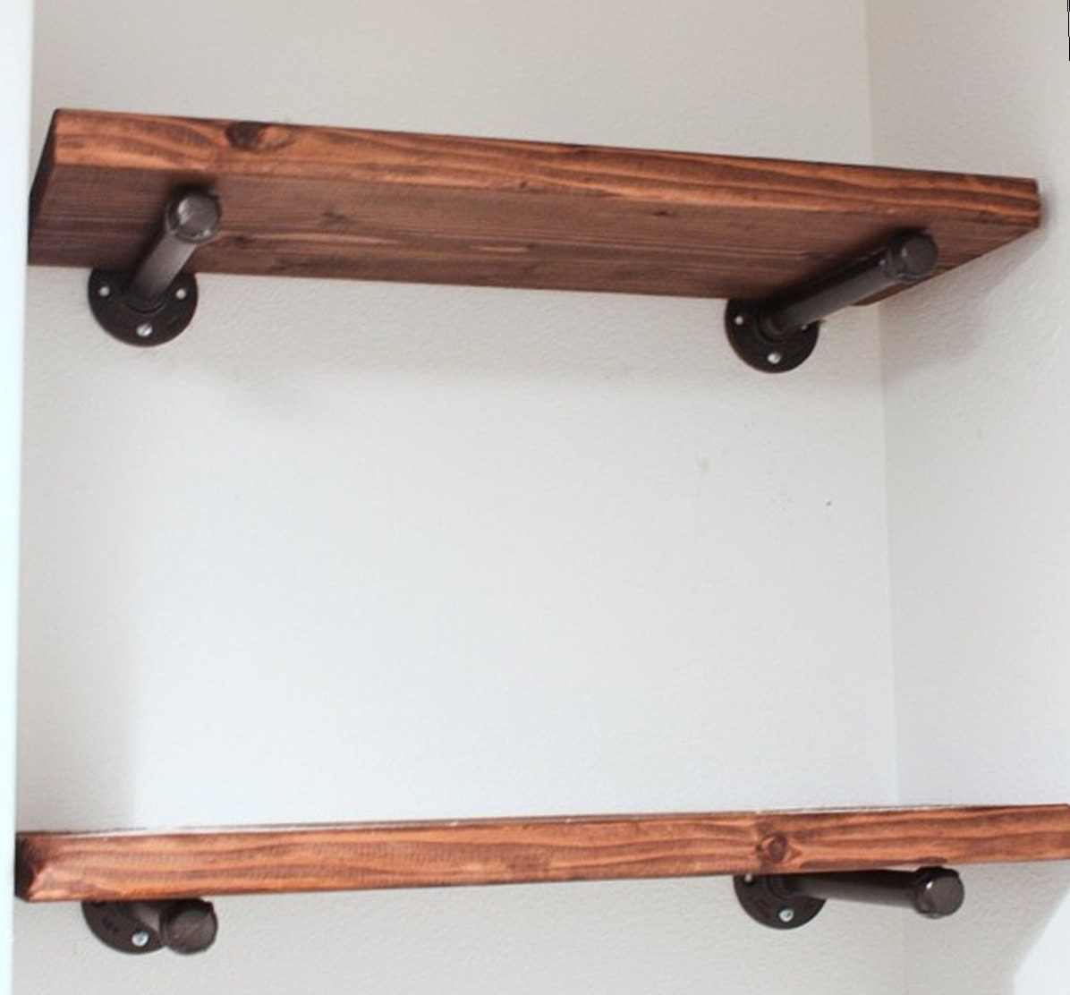 6 Deep Floating Wall Shelf With Pipe Brackets Urban