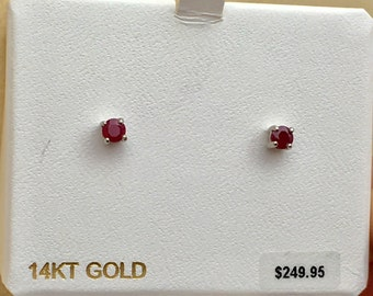 14k white gold round natural ruby stud earrings