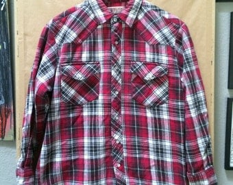 Vintage Big Mac Heavyweight Flannel Shirt Pearl Snaps Western