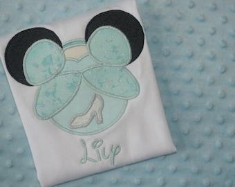 Cinderella- Disney Mickey Mouse Ears Appliquéd Shirts or Onesies-- Girl/Princesses