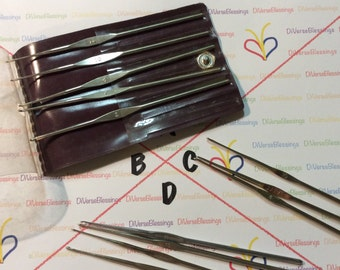 JAPAN, Crochet Hook, Steel, Thread Sizes, Vinyl Storage Case, Set, Small Lots Sizes 0 2 4 7 8 9 10 14, Made in Japan