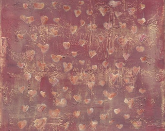 love, large brown hearts from the sea  square knowledge fend shui abstract  print