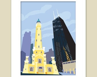 Water Tower Chicago Matted Print