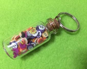 Miniature Hallowe'en Clay Shapes Jar. Tiny, Kawaii, Cute Gift in Glass Bottle. Keyring. Free UK p&p