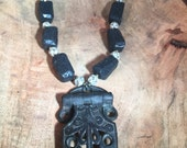 Gothic Style Hinge Necklace.... Lava Beads and Vintage Austrian Crystals! Amazing Statement Piece and One of a Kind