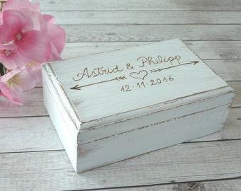 Rustic Ring Bearer Box Personalized Wedding Box Custom Ring Box Wedding Ring Box Wedding Ring Pillow Box Ring Holder Heart White Ring Box