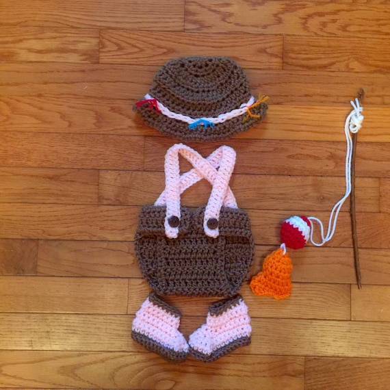 Baby girl fishing outfit baby girl photo prop newborn girl for Baby fishing outfit