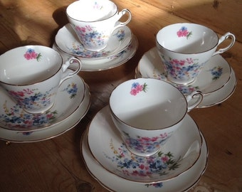 Vintage 'Regency' Teacup, Saucer & Cake Plate Trio. Delicate Pink and Blue Flowers, Gilt Edging.
