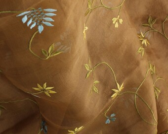 "SILK Organza Fabric/ 52"",EMBROIDERED FLOWERS"