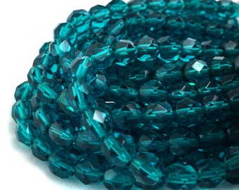 6mm Faceted Round Teal Beads, 6mm Teal Firepolish Beads, Beading Supplies