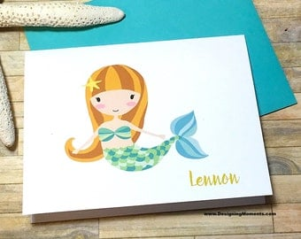 Girls Mermaid Stationery - Custom Mermaid Note Cards - Personalized Stationery - Stationary - Under the Sea Thank You Cards - DM238