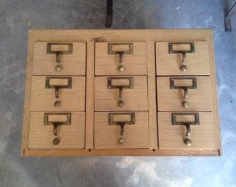 Antique Vintage 9 Drawer Wood Library Card Catalog Rods Pulls Filing Wine Rack Baseball Cards