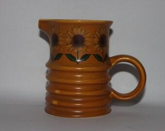 Carltonware milk jug, orange sunflowers, mod modern art deco style