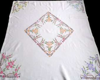 Vintage square linen tablecloth with colorful flowers floral embroidery hand embroidered table cloth