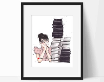 Bookworm Illustration, Bookworm Gift, Fashion Print, Girly Wall Art, Dressing Room Decor, Chic Print, Fashion Sketch, Book Lover Gift