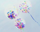 "Large Confetti Balloons 17"" / Gold / Silver / Multicolor / DIY / Wedding / Birthday / Baby Shower / Peach / Pink / Blue / Blush / You Pick"