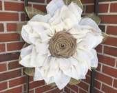 Sunflower Burlap Wreath, Ivory Sunflower Wreath, Mother's Day Gift, Front Door Wreath, Custom Wreath