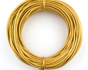 Gold Metallic Round Leather Cord 1mm 25 meters (27 yards)