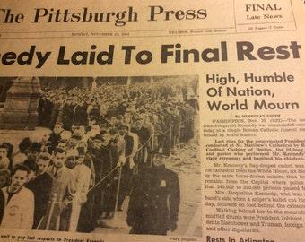 Kennedy assassination newspaper.  Nov 25, 1963 President Kennedy historic newspaper
