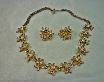 Pretty in Pink Enamel and Aurora Borealis Necklace and Earrings