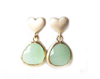 Mint Green Earrings Gold Heart Post Earrings Gold Mint Earrings Mint Bridesmaids Earrings Mint Bridesmaids Gift Mint Wedding Jewelry