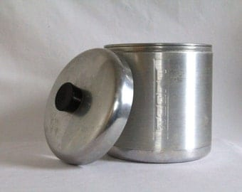 Vintage Stainless Kitchen Canister - Flour