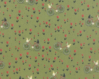 1/2 Yard - Mon Ami Bicyclette Vert Green Fabric by Basic Grey - 30413 15