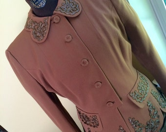 1940's fitted gabardine blazer, beautiful vintage details, scrolled trim, beads, scalloped edge, crepe lining.