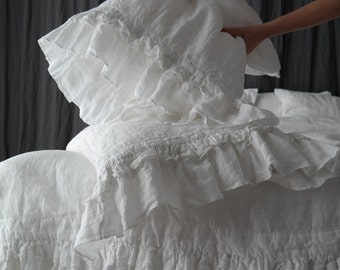 LINEN DUVET COVER. Rustic style ruffled duvet cover and pillowcases. French linen bedding set. Softened and washed linen. Made by MOOshop.*3