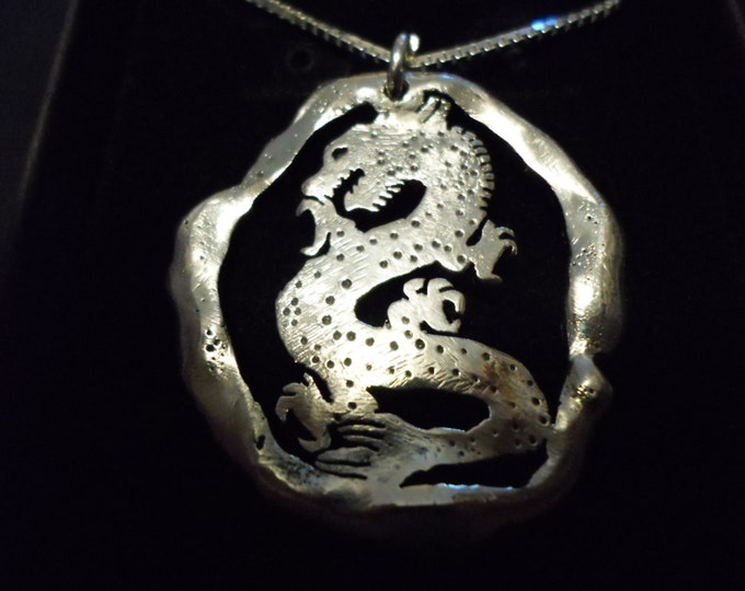"Large 35mm-32mm melted Dragon necklace w/20"" sterling silver chain"