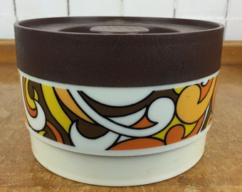 Retro willow plastic canister with a funky pattern