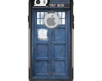 OtterBox Commuter for Apple iPhone 5S SE 5C 6 6S 7 8 PLUS X 10 - Custom Monogram - Any Colors - TARDIS Call Box Photograph