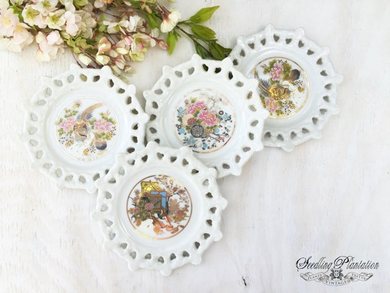 Vintage Asian Plates-Hanging Set of 4, Home Decor, Chinoiserie, Decorative