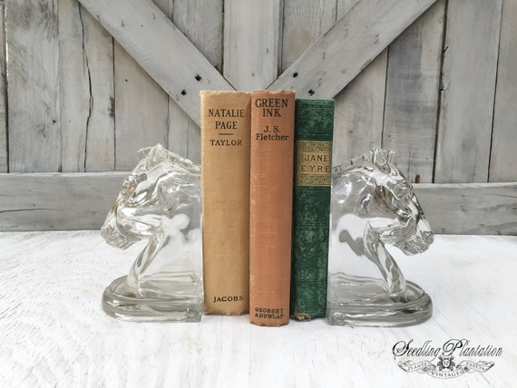 Rare Vintage Glass Horse Bookend, Pair