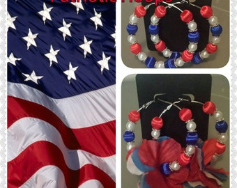 Basketball wives inspired Patriotic red white and blue hoops