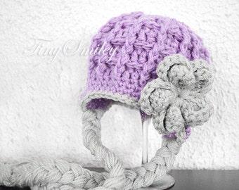 Earflap Girl Hat, Earflap Baby Hat, Lilac Earflap Hat, Lavender Girl Hat, Chunky Earflap Hat, Baby Girl Hats, Crochet Earflap Hat, Ear Flaps