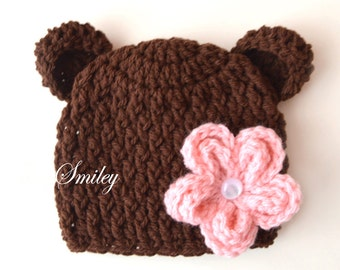 Newborn Bear Hat, Baby Girl Bear Hat, Flower Bear Hat, Baby Hat with Ears, Crochet Bear Hats, Baby Animal Hat, Crochet Bear Outfits,Bear Hat