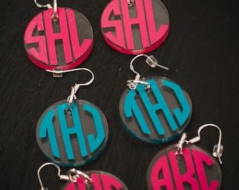 Monogrammed Earrings - Acrylic Dangling Earrings