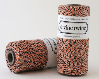 SALE - Halloween Bakers Twine - Black Orange Divine Twine - Halloween Decoration - Gift Wrap - 240 YD Spool - 50% off