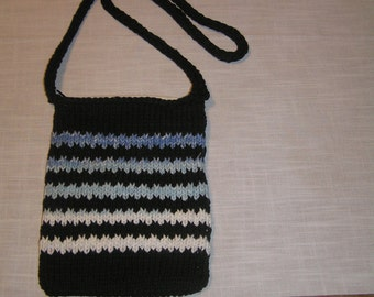 Handmade Black, Striped Knit Cotton Bag - Lined, with Zipper closure - FREE SHIPPING
